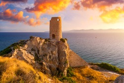 Torre del Prezzemolo, an old coastal tower in Cagliari, Sardinia, Italy.