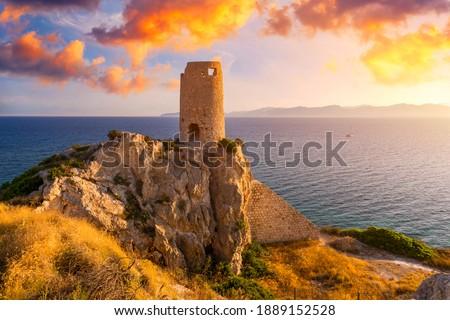 Torre del Prezzemolo, an old coastal tower in Cagliari, Sardinia, Italy.  Stockfoto ©