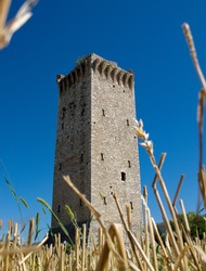 Torre di Matigge, an isolated medieval tower, along the ancient Via Flaminia, near the small town of Trevi, in Umbria, not far from Foligno.