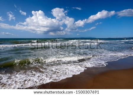 Torre Mozza (Li), Tuscany, Italy, waves on the shoreline of the beach #1500307691