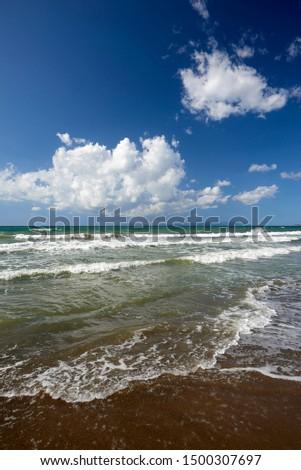 Torre Mozza (Li), Tuscany, Italy, waves on the shoreline of the beach #1500307697