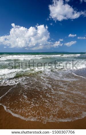 Torre Mozza (Li), Tuscany, Italy, waves on the shoreline of the beach #1500307706