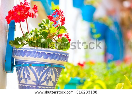 Torremolinos. Costa del Sol, Andalucia,Spain. Traditional White Village with flower pots in facades at Spain. Flower pots in facades close up. Beautiful street decorated with flowers in Spain