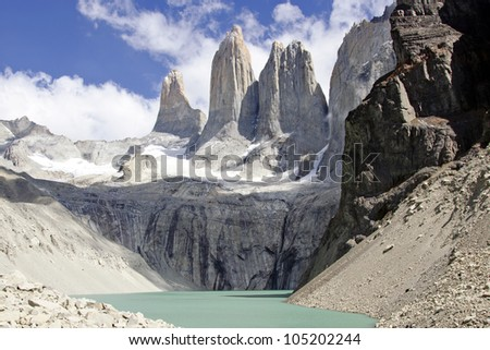 torres del paine mountain and lake