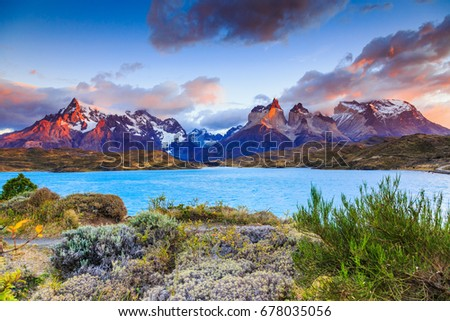 Photo of  Torres Del Paine National Park, Chile. Sunrise at the Pehoe lake.