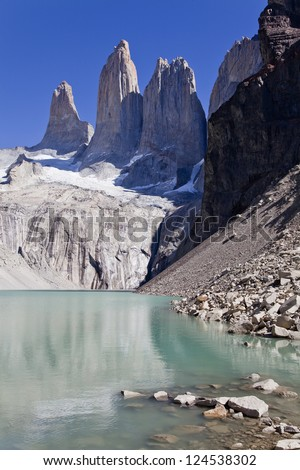 Torres del Paine peak on a clear day. Chile.
