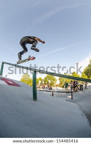TORRES VEDRAS, PORTUGAL - SEPTEMBER 15: Duarte Pombo at 2nd Stage on DC Skate Challenge by Fuel TV on september 15, 2013 in Torres Vedras, Portugal.