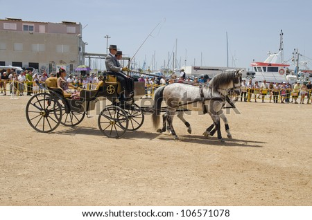 TORREVIEJA, SPAIN,  - MAY 13: People in carriage horses walking in the square of the fair on the  May fair the day May 13, 2012 in Torrevieja, Spain