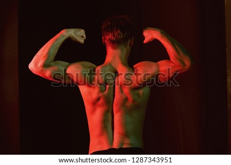 Torso concept. Man with sexy naked torso back. Torso and arms muscle. Bodybuilder with muscular torso.