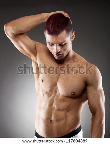 Torso of fit and muscular man