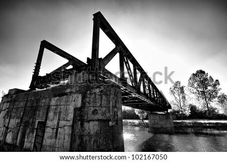 Torso of iron construction bridge