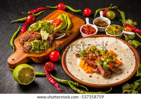 tortilla and tacos set Mexican food #537358759