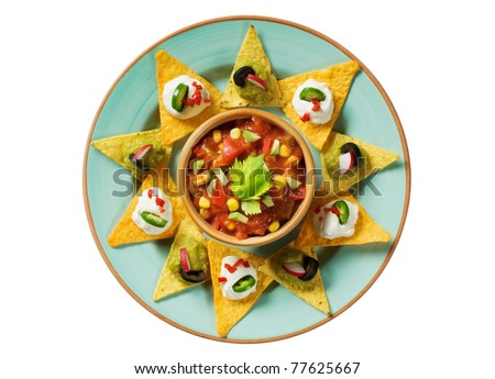 Tortilla chips arranged around a bowl of salsa - overhead