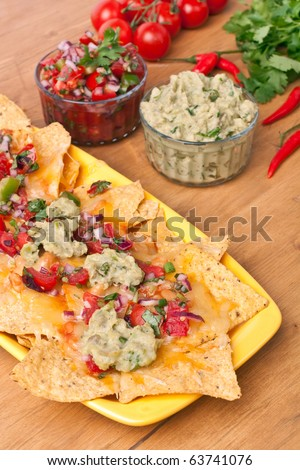 Tortilla chips with hot salsa and guacamole