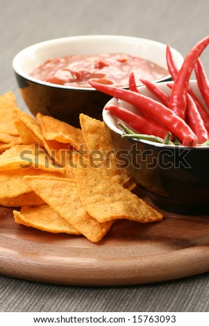 tortilla chips with hot salsa mexicana - party food