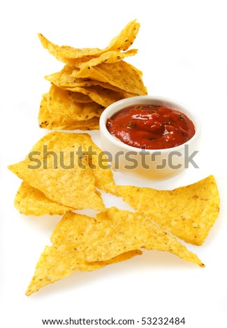Tortilla chips with salsa dip isolated on white