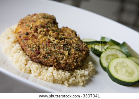 Tortilla-Crusted Tilapia over Whole Wheat Couscous with a side of Steamed Zucchini