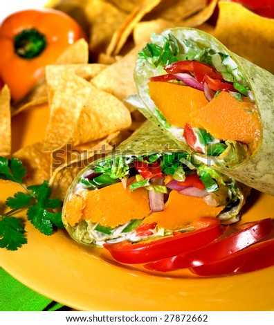 Tortilla Filled with Vegetables and Mango.