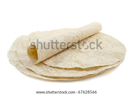 Tortilla pan cakes isolated on a white background