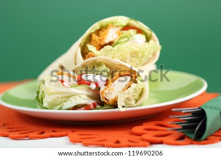 Tortilla with Chicken Nuggets