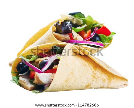 tortilla with meat and vegetables isolated on white background