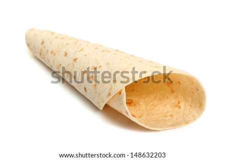 Tortilla Wrap Bread. Isolated on a white background.