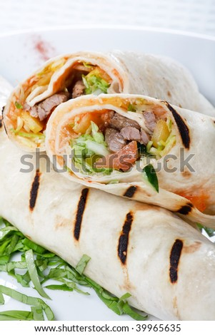 Tortilla Wrap Cut in Half