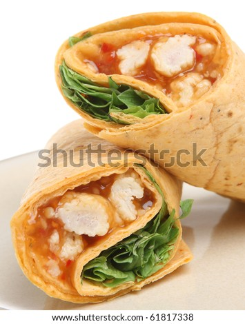 Tortilla Wrap with chicken in a Thai sweet chilli sauce