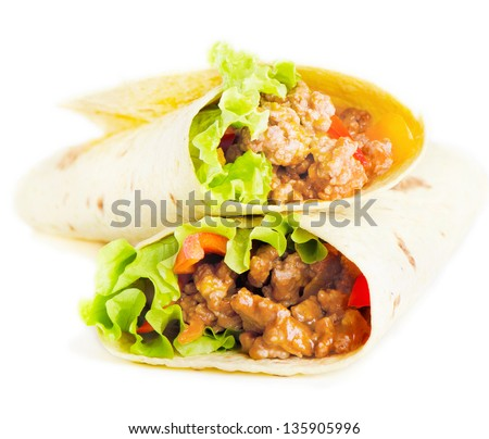 tortilla wraps  isolated on white. Selective focus