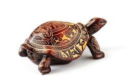 Tortoise with a Buddha image on a shell, isolated on a white background.