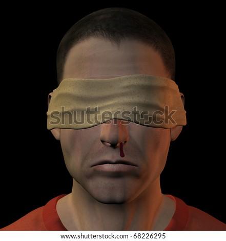 Tortured blindfolded man with bleeding nose. 3d illustration.