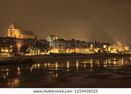 Torun city and Wisla river, Poland Zdjęcia stock ©
