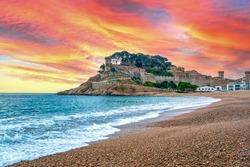 Tossa de Mar fortress on the beach, Costa Brava Mediterranean sea landscape in Catalonia, Spain