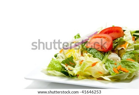 tossed salad including tomatoes, lettuce, romaine, onion, carrots on a white china plate on a white background with copy space