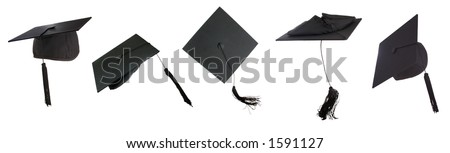 Tossing of 5 mortar boards  -clipping paths individually or all together