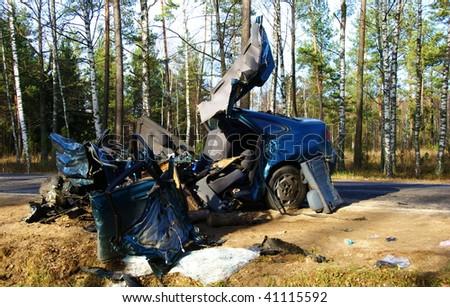 total car crash on highway