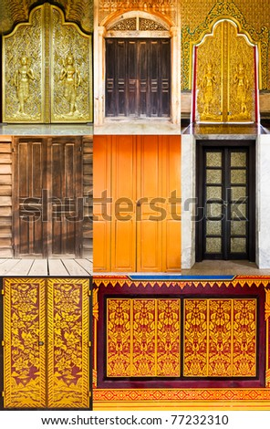 Total door style thai in temple ,Thailand