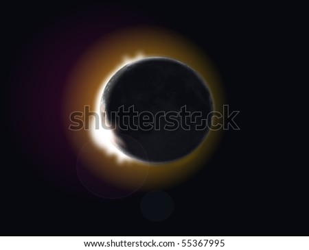 total eclipse - stock photo
