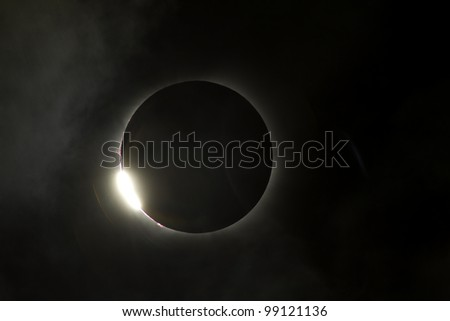 Total eclipse comes to the end with a burst of light