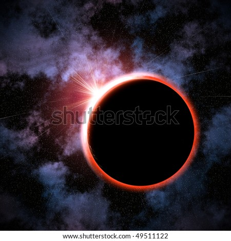 total eclipse on a star background