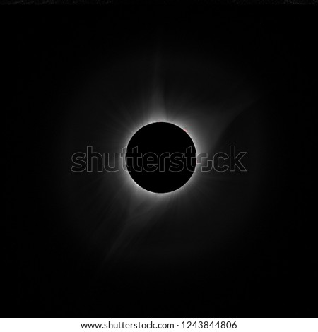 Total Eclipse on September  2017 near Casper in Wioming in USA, amazing structure of corona with small protuberance
