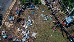 Total Loss everything is gone Havok from Hurricane Harvey in La Grange , Texas Flooding and destruction after Hurricane Harvey flooded neighborhood Straight down view from above destruction