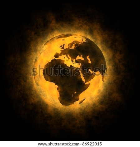 Total warming of planet Earth - Europe Africa and Asia on black background