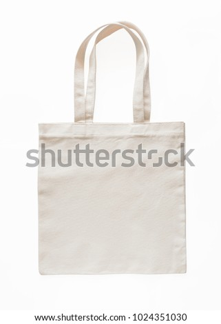 Tote bag canvas fabric cloth eco shopping sack mockup blank template isolated on white background (clipping path)