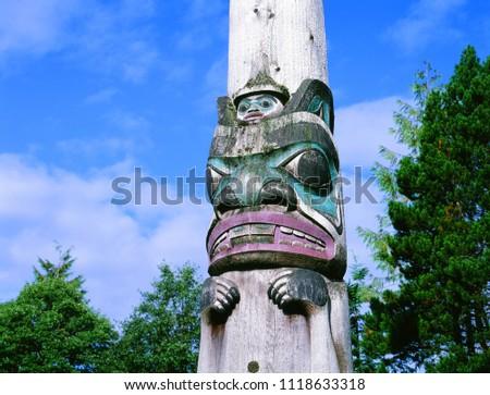 Totem, old totem in  Alaska busch #1118633318