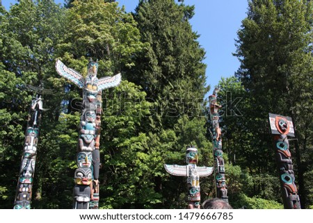 Totem pole at Stanley park, Vancouver, British Colombia, Canada.