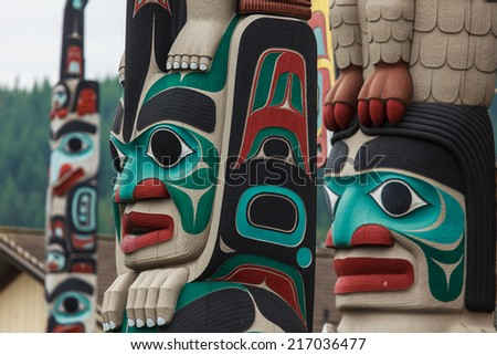Totem pole by North American Native indians #217036477