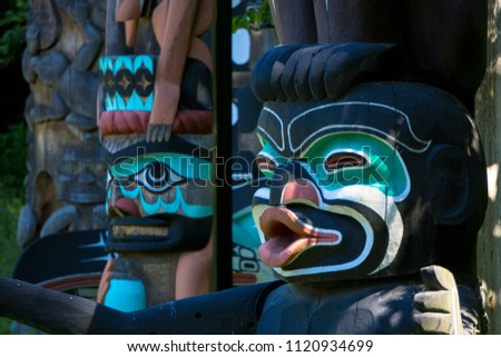 Totem poles at Stanley Park, Vancouver, Canada #1120934699