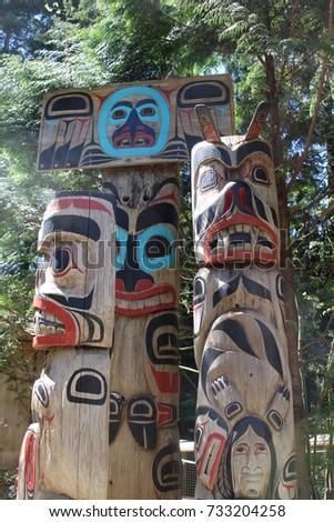 Totem Poles near Vancouver B.C., Canada. #733204258