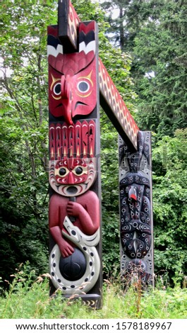 Totems of the city of Vancouver in Canada
